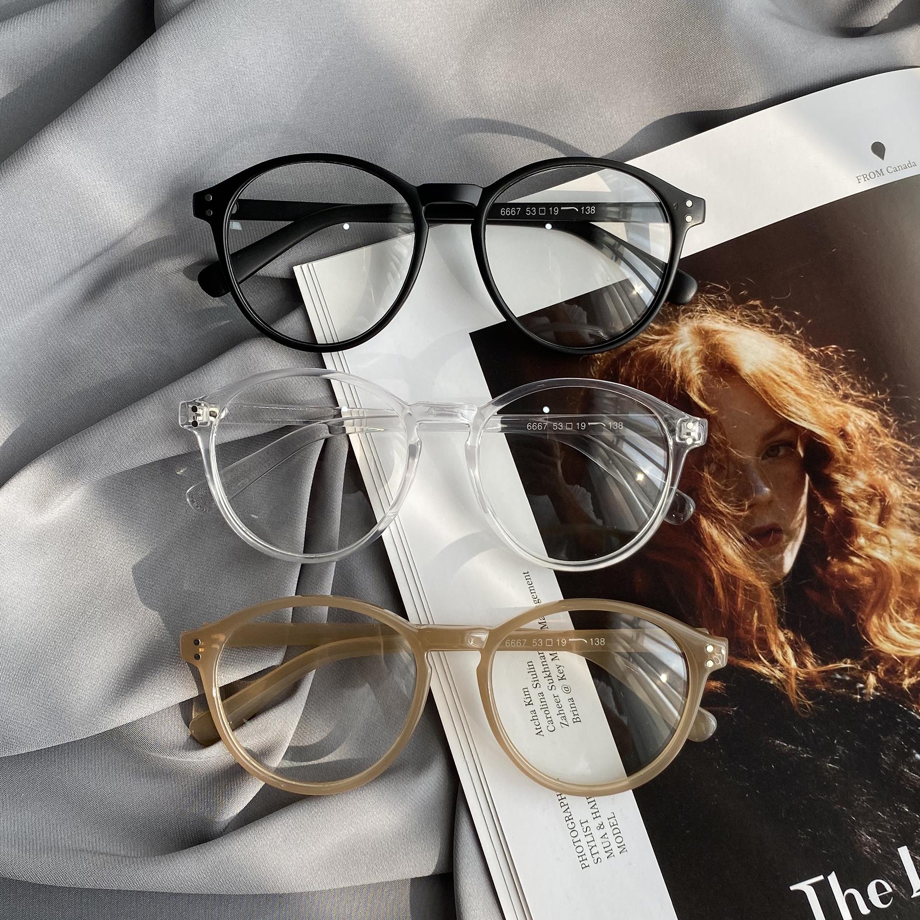 韩版潮复古圆脸眼镜女圆框平光镜显瘦素颜神器抖音平光镜女眼镜架