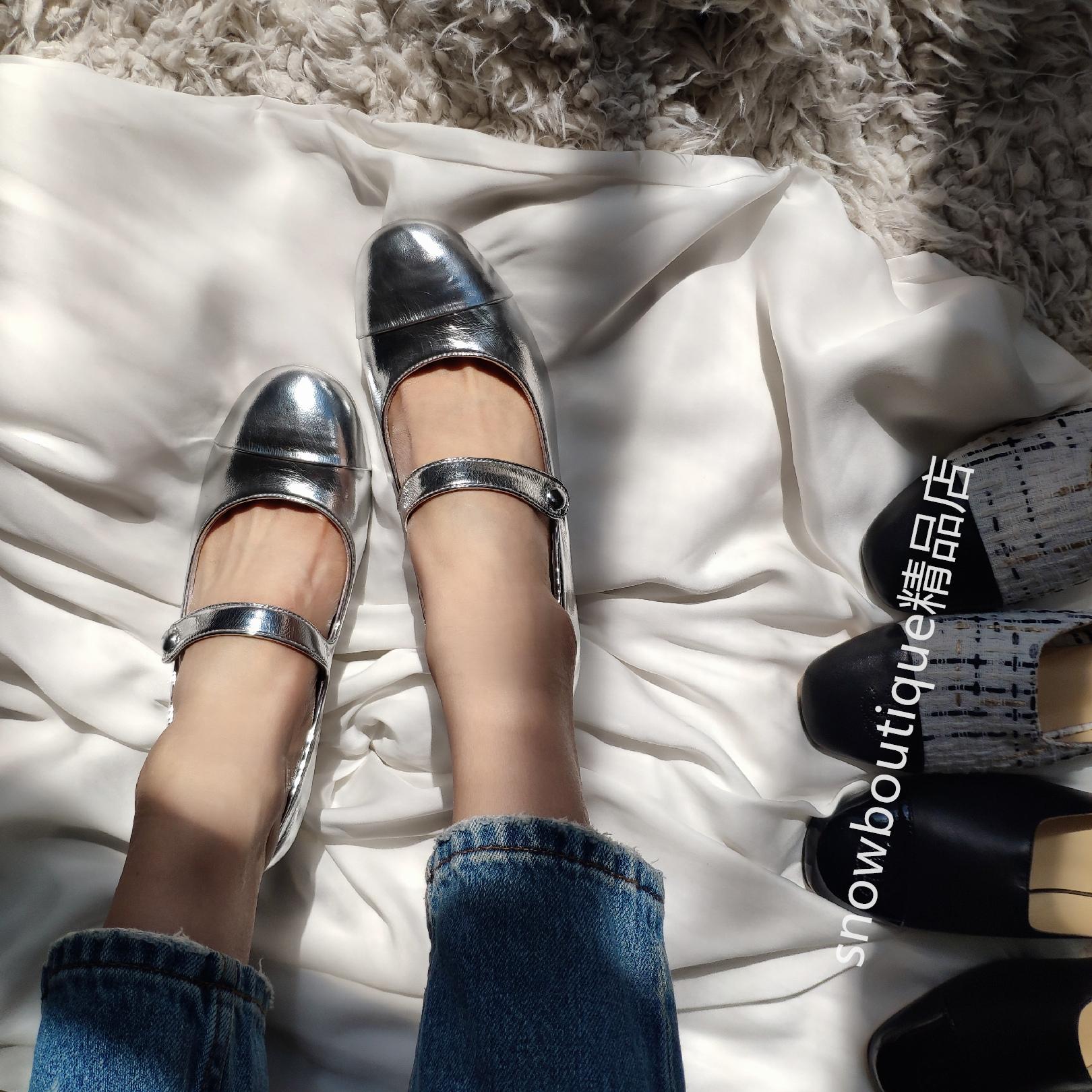 高端女鞋圆头银色复古英伦范儿玛丽珍单鞋凉鞋高跟鞋粗跟2020新品
