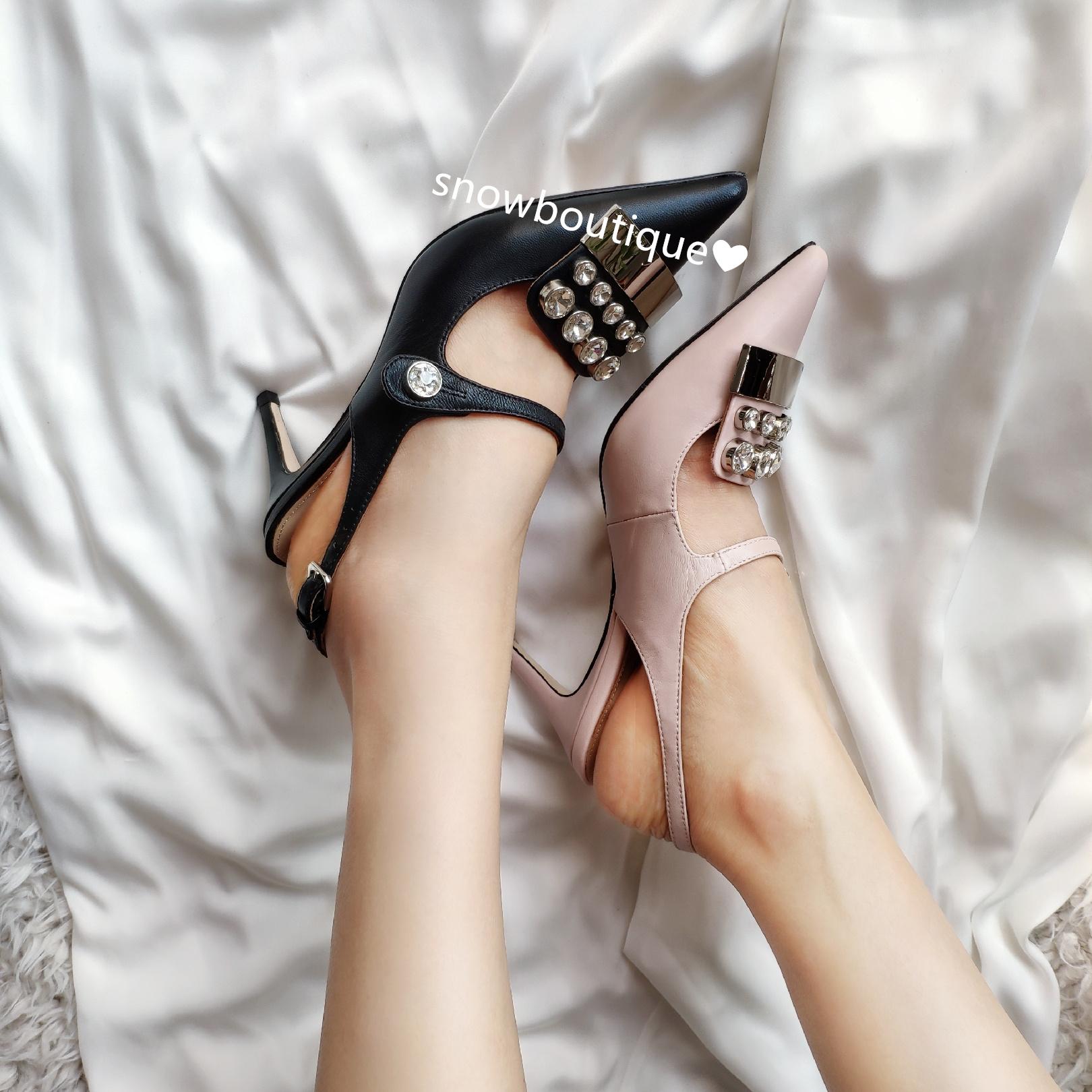 高端女鞋好皮质重工水钻尖头制鞋大师高跟鞋玛丽珍鞋凉鞋