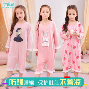 女童睡裙纯棉短袖公主风夏季宝宝家居服女孩儿童睡衣连体大童薄款