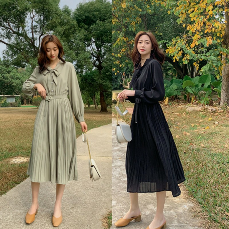 Super fairy chiffon dress women with belt 2020 spring and summer solid high waist V-Neck long sleeve slim A-line medium length skirt