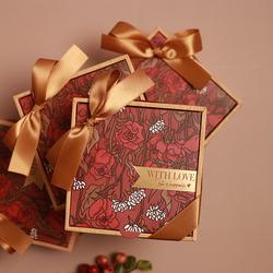 结婚婚礼糖盒喜糖礼盒装糖果伴手礼女伴娘小礼品满月礼物仿木盒