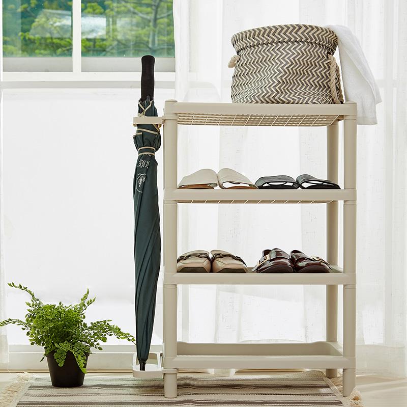 收纳博士多层简易鞋架雨伞收纳架塑料组装鞋架杂物整理架厨房卫浴