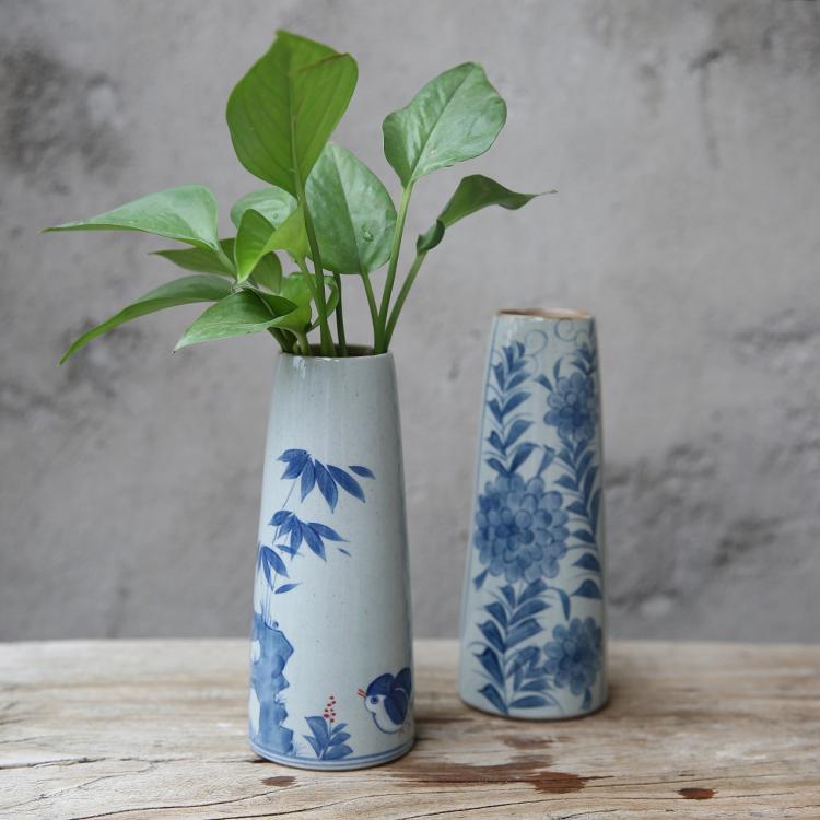 古風の陶磁器の花瓶の手描きの復古の磁器の花器の水培の花が中国風の家に挿し込んで花瓶を飾ります。