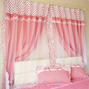 Little red grid finished clearing double bay window curtain short half curtain semi shade bedroom balcony custom curtains