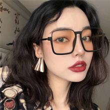复古半框墨镜女ins酷街拍时尚方形茶色太阳眼镜潮个姓大脸网红款
