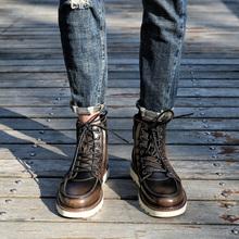 春秋真皮网红马丁靴男潮夏季马丁鞋中帮短靴子英伦风透气工装靴男