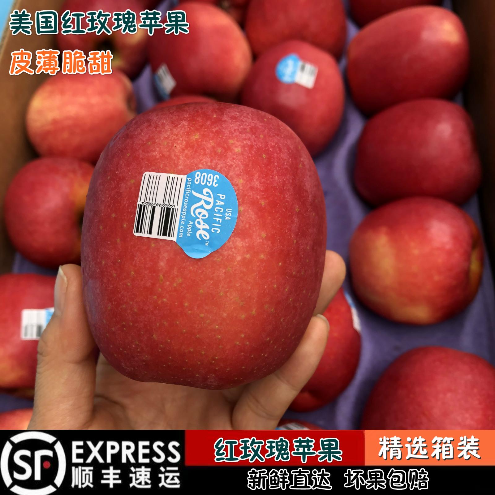 美国进口红玫瑰苹果 新鲜水果皮薄脆甜16-18颗装顺丰深圳发货