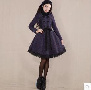 烟花新品秋季新款女装甜美气质修身长款毛呢外套 天空之城