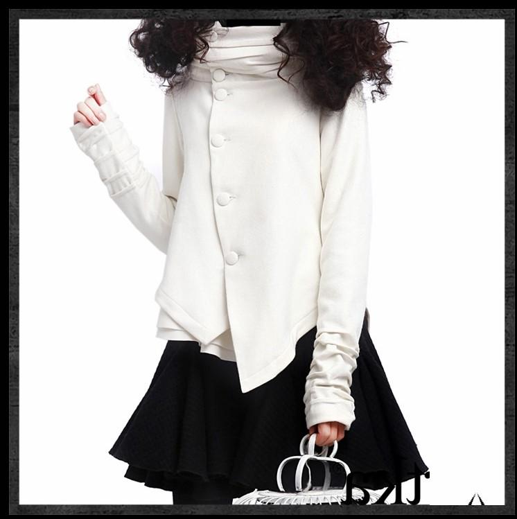 冬季阿卡新款女装立领修身不规则连帽短款堆堆袖羊毛毛呢外套大衣