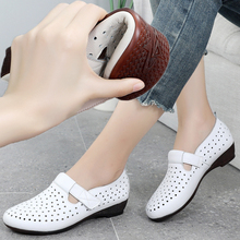 Leather flat bottom sandals women's hole shoes women's Baotou summer new all-around casual women's shoes middle age mom big size