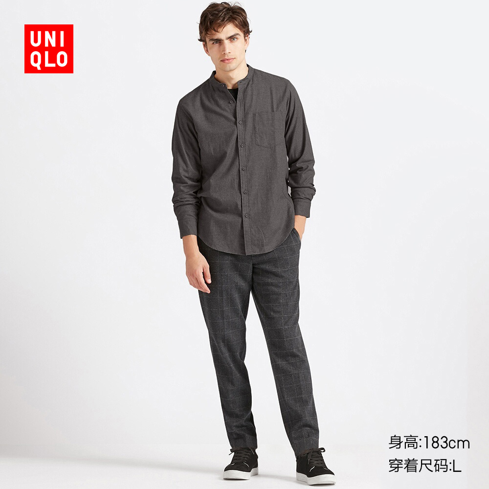 Men's Flannel Collar Shirt (Long Sleeve) 419033 Uniqlo