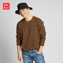 Men's washed striped T-shirts (long sleeves) 419749 Uniqlo