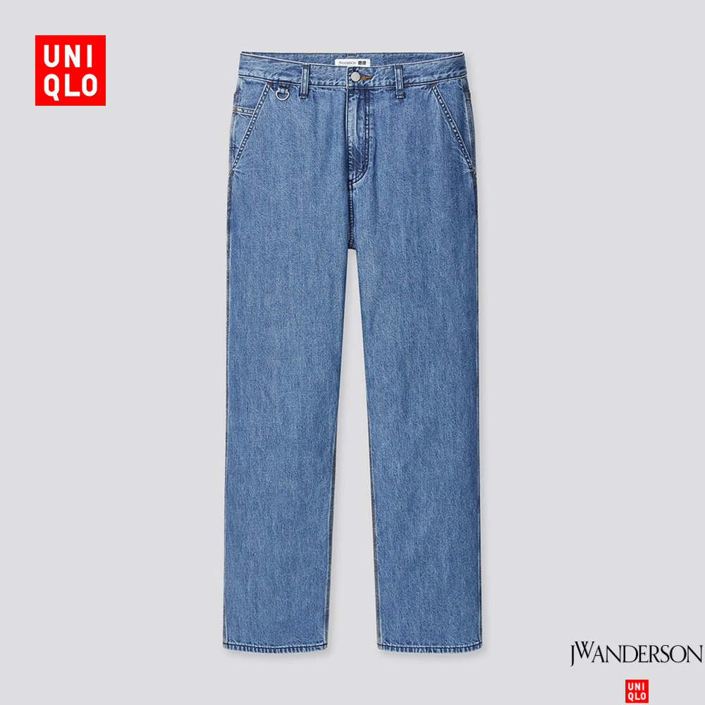 Uniqlo designer cooperation men's loose straight jeans (water washing products) 440284