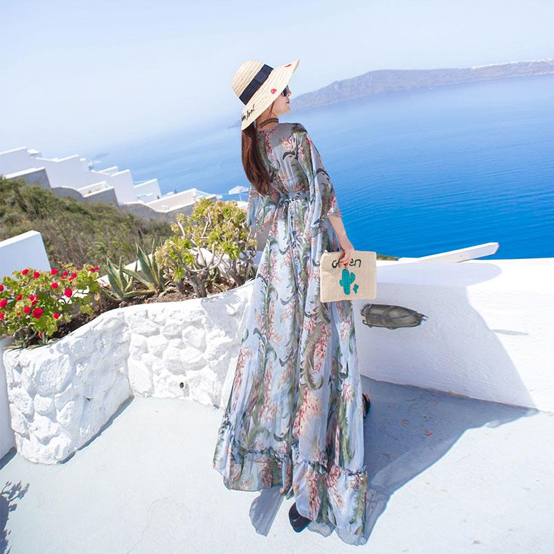 沙滩裙长裙大摆到脚踝2019新款海边度假雪纺波西米亚长袖连衣裙仙