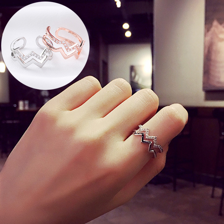 Heartbeat wave double layer ring Japanese and Korean simple versatile Chaoren micro inlaid zircon open joint index finger ring female