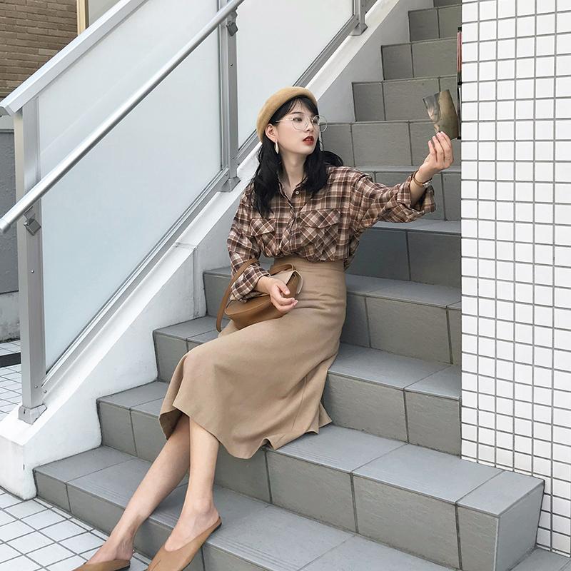 券后159.00元◆SRK◆复古英伦风格子衬衫女早春长袖宽松休闲格纹衬衣外套