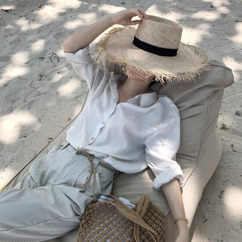樱子定制白色棉麻长袖衬衣女夏防晒宽松薄款慵懒亚麻chic早秋衬衫