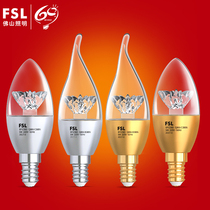 Foshan Lighting LED candle bulb e14 small screw mouth E27 energy-saving lamp home lighting crystal chandelier 3W light source