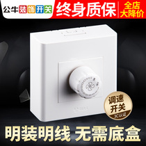 Bull Speed switch electric fan ceiling fan 220V switch fan Governor General infinity variable speed bright mounting panel