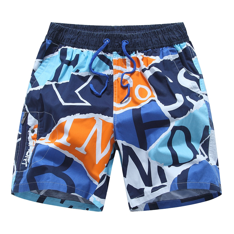 Summer beach pants youth trend loose cotton printed Capris seaside quick drying cotton shorts underpants