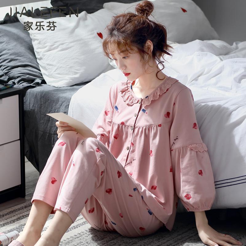 睡衣女士春秋款秋季纯棉长袖家居服全棉春季薄款韩版甜美可爱套装图片
