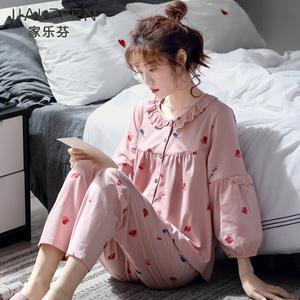 睡衣女士春秋款秋季纯棉长袖家居服全棉春季薄款韩版甜美可爱套装