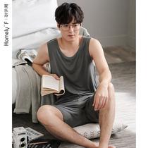 睡衣男士夏季莫代尔棉绸背心无袖短裤家居服大码夏天薄款冰丝套装