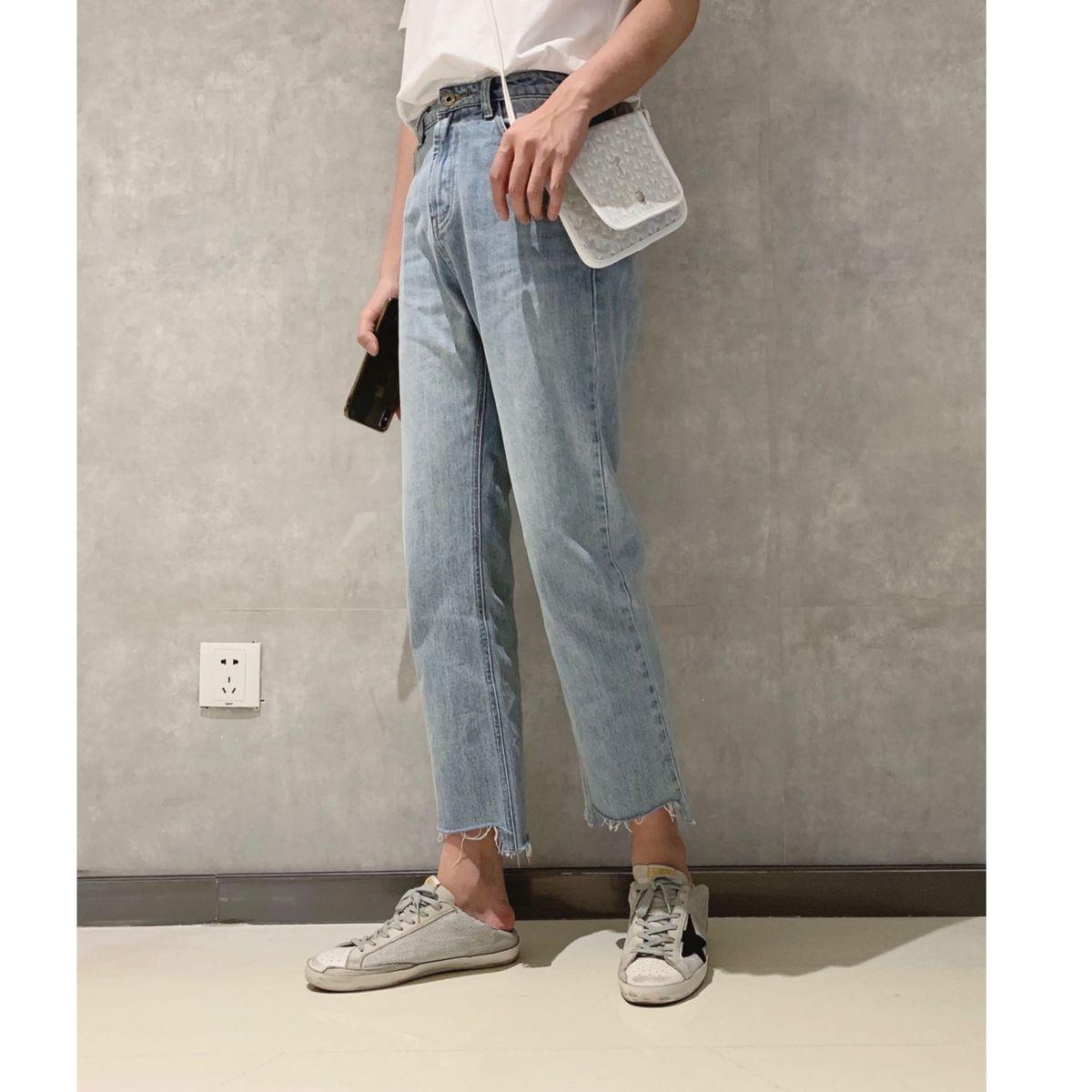 11-27新券阿茶与阿古蓝色破边牛仔裤男夏季薄款直筒设计感不规则裤脚休闲裤