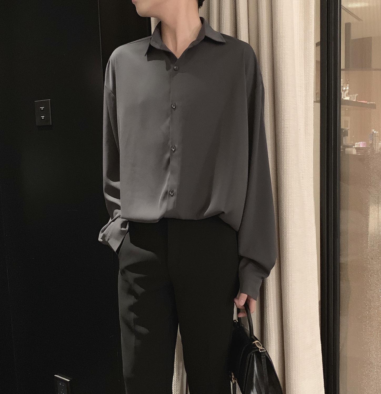 阿茶与阿古锡灰色网红衬衫男长袖春季韩版丝滑打底衬衣图片