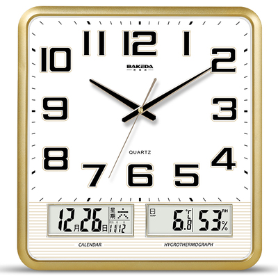 Mute wall clock living room calendar clock simple and fashionable home clock wall watch modern electronic square quartz clock