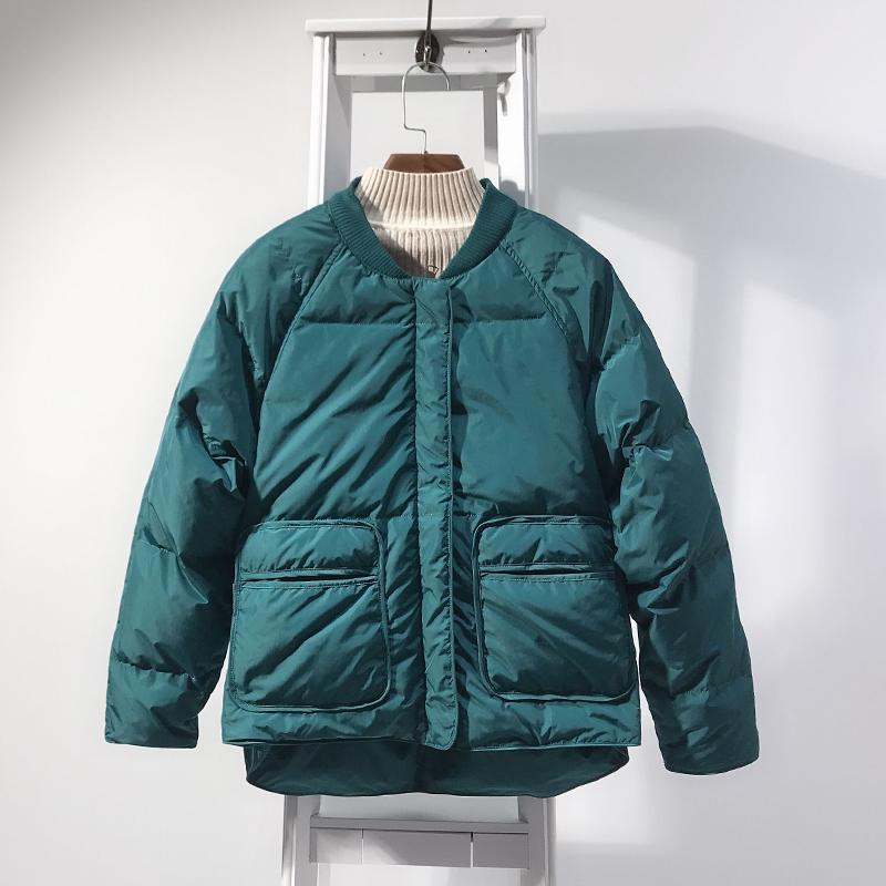 棒球羽绒服女短款2019新款冬季韩版立领宽松加厚白鸭绒小个子外套图片
