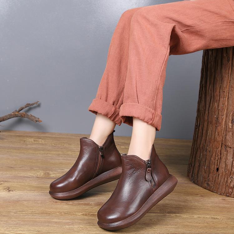 包邮厚底马丁秋冬坡跟短筒复古短靴