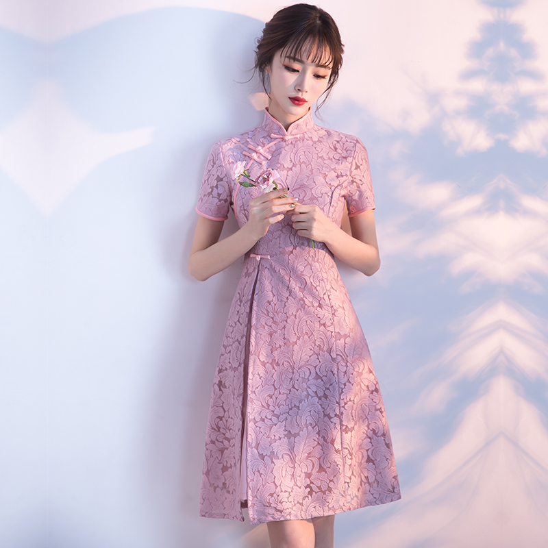 日常旗袍夏季2018新款优雅时尚改良韩版短款少女学生礼服连衣裙女