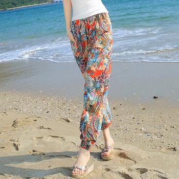 哈伦裤花子女夏季宽松外穿阔腿裤