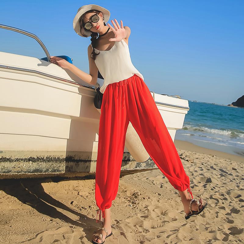 泰国宽松大码女裤阔腿灯笼裤夏季韩版新款雪纺纱海边度假沙滩长裤