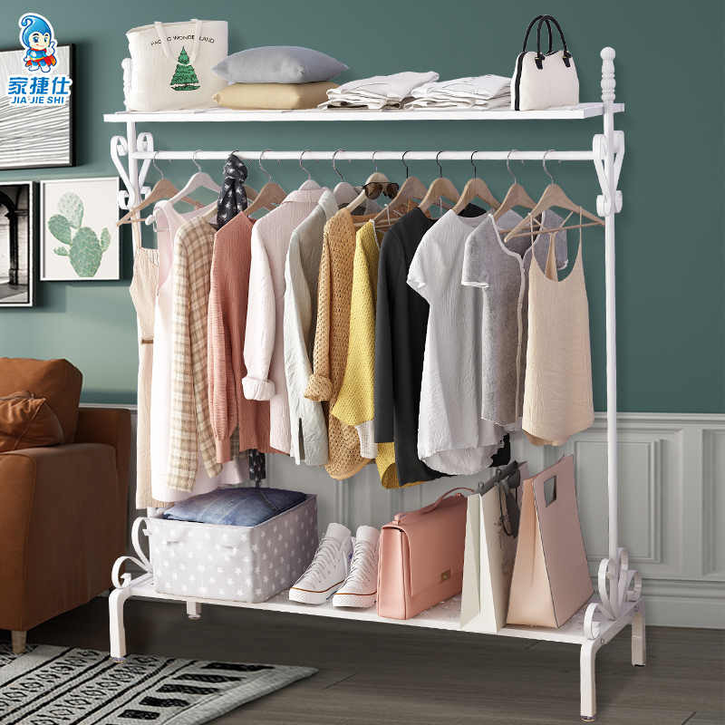 欧式挂衣架落地卧室内简易收纳衣帽架家用衣服架子单杆立式置物架(用3元券)