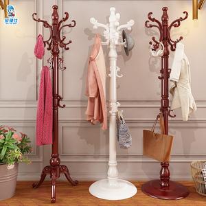 欧式实木衣帽架落地卧室挂衣架单杆立式衣服架子简约现代家用包架