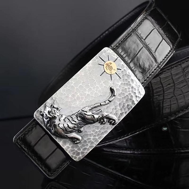 S999纯银皮带扣头手工捶打寅虎18K男士鳄鱼肚皮皮带真皮裤腰带3.8