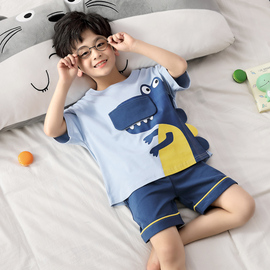 男童睡衣夏季薄款短袖纯棉套装儿童睡衣男孩夏天卡通中大童家居服图片