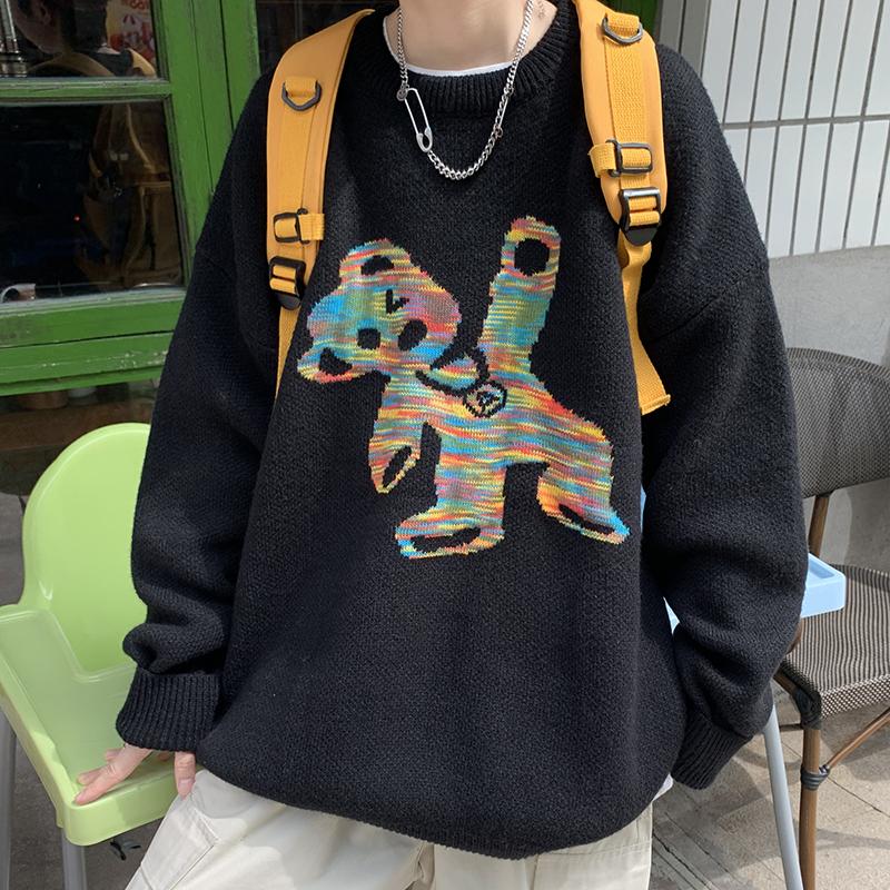 复古港风趣味小熊中性毛衣宽松百搭休闲针织衫 S24/P70