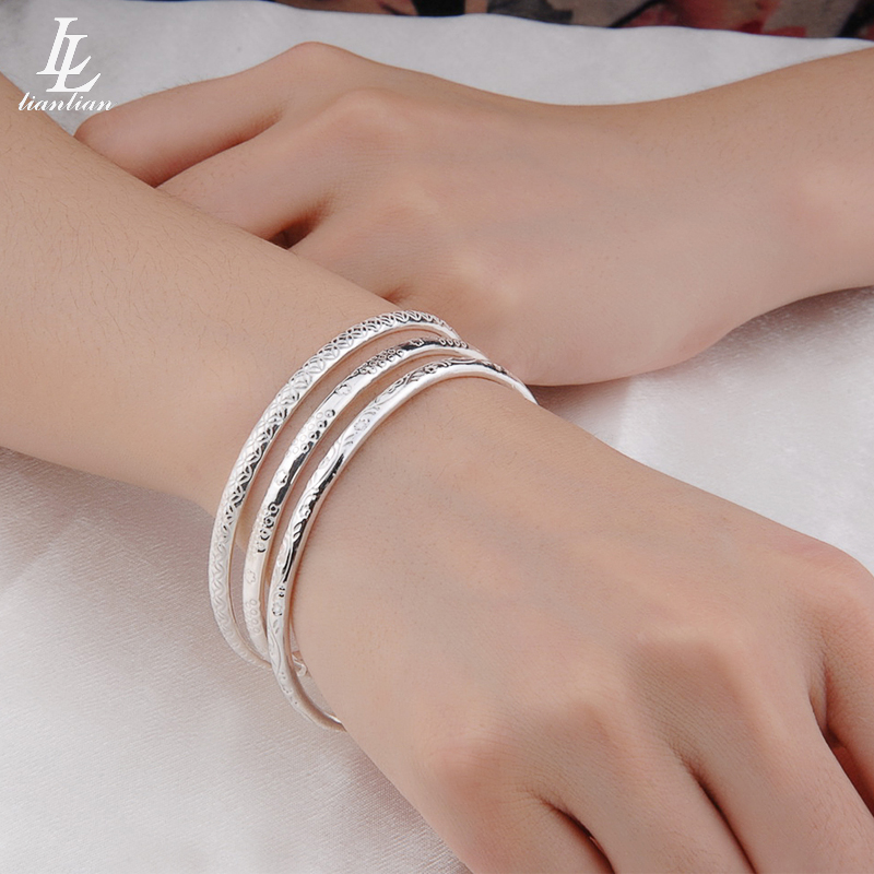 Ll silver jewelry Bohemian style 999 Sterling Silver Bracelet full silver female Bracelet opening three thin ring suit