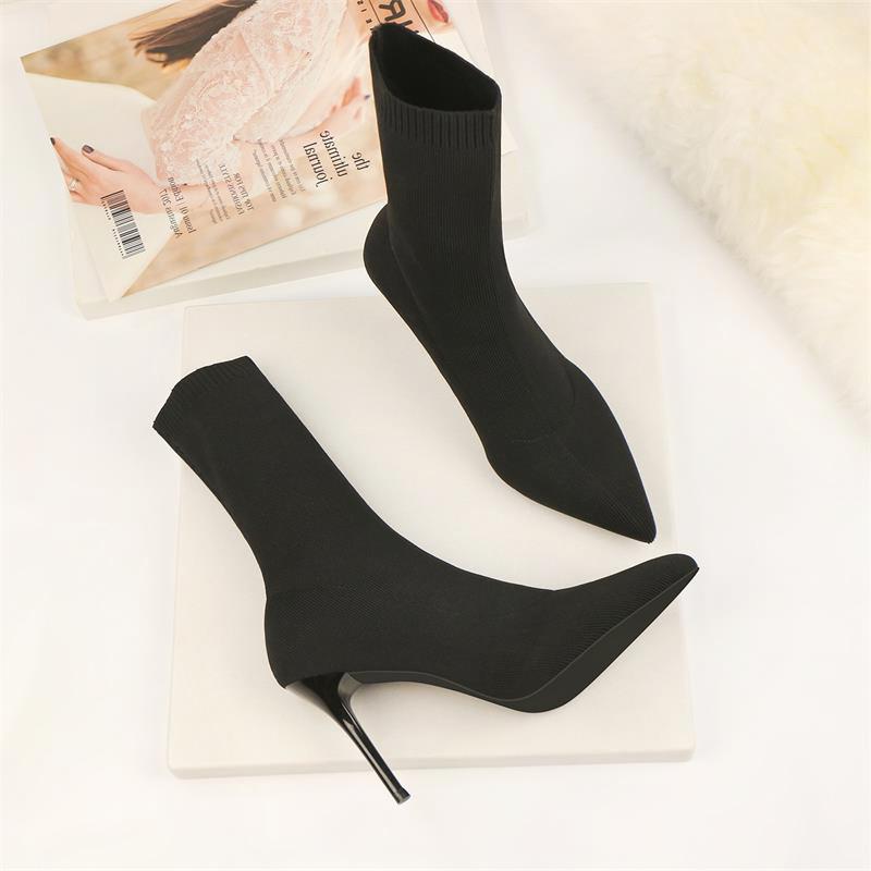 毛线女短靴细跟尖头高跟弹力中筒靴秋冬显瘦大码7cm跟单靴瘦瘦靴图片