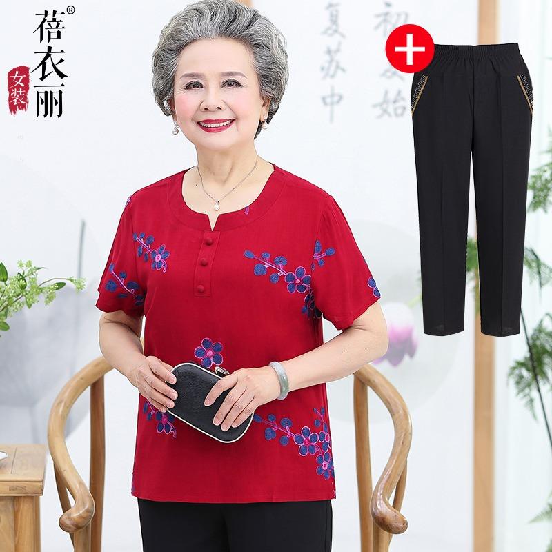 中老年人夏装女60-70岁奶奶装妈妈纯棉短袖t恤老人衣服套装老太太