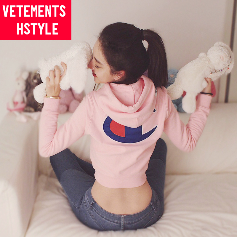 Items hstyle 2018 xinlinyun star same Pink Embroidered rejuvenating Hoodie short