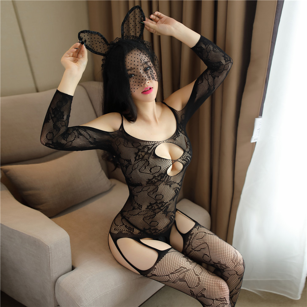 Couple underwear stockings no take off one-piece mesh embroidered large size sexy night line bottom net red soft model one-piece stockings