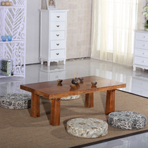 Old Elm tatami coffee table solid wood floating window table Kang a few short table terrace windowsill table tube about small Kang Table Tea table