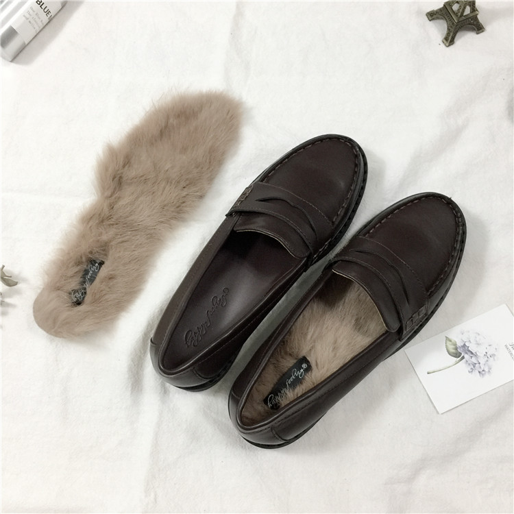 满8元可用3元优惠券黑色日常百搭英伦乐福鞋平底小皮鞋