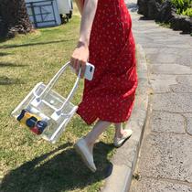 2020夏日新品女包搭配软皮小包透明包拼接手提包度假旅游沙滩包