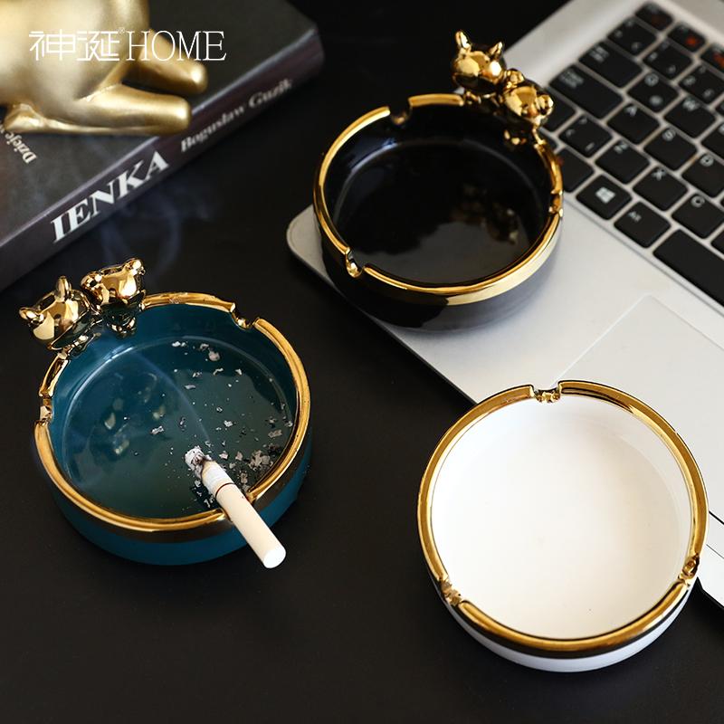 北欧轻奢描金陶瓷烟灰缸家用客厅个性潮流时尚创意茶几装饰品摆件